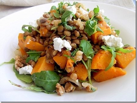 Roasted Butternut Squash, Lentil and Goats Cheese Salad (3)