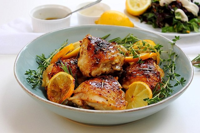 roasted chicken thighs with lemon and rosemary