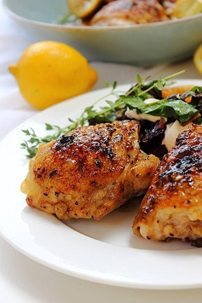 Crispy Baked Rosemary Lemon Chicken Thighs