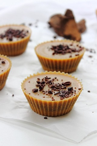Inside out almond butter cups filled with chocolate ganache, topped ...