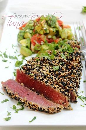 Super rare pan seared sesame coated tuna steak with avocado and ...