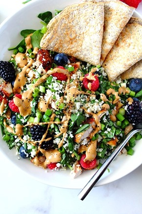 Berry Sunbutter Rice Salad Paleo with Flax Coconut Flour Wraps (6)