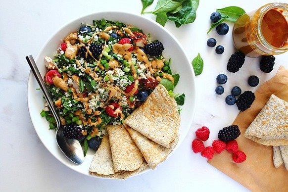 Berry Sunbutter Rice Salad Paleo with Flax Coconut Flour Wraps (8)