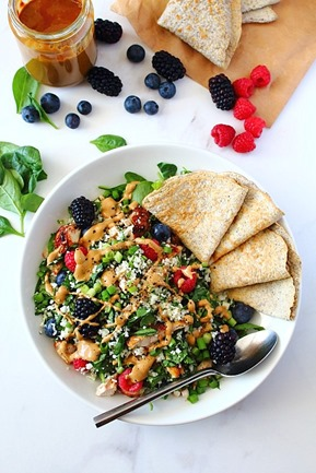 Berry Sunbutter Rice Salad Paleo with Flax Coconut Flour Wraps (9)
