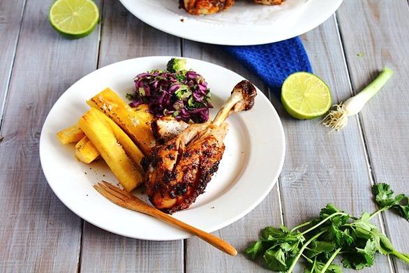 Jerk Chicken Drumsticks & Plantain Fries  (10)