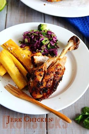 Jerk Chicken Drumsticks & Plantain Fries  (11) title
