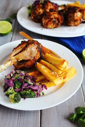 Jerk Chicken Drumsticks & Plantain Fries  (13)